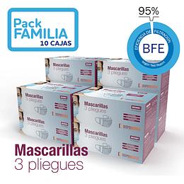 Mascarilla 3 pliegues - 10 cajas