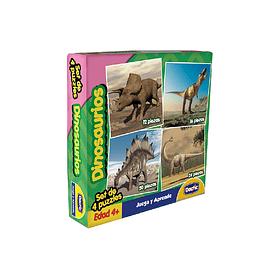 Set de 4 Puzzle Dinosaurio Cartón