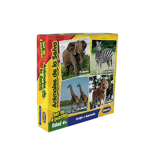 Set de 4 Puzzle Animales de la Selva Cartón