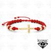 Pulsera Cruz Cristo Neopreno Oro Laminado 18K