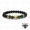 Pulsera con Coronas Lobo Onix y Ojo de Tigre Verde