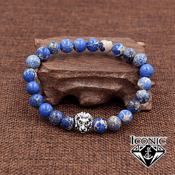 Pulsera León Piedra Jaspe Imperial Azul 8mm