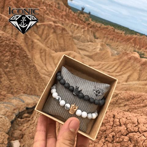 Pulseras para Parejas Howlita Volcanica y Coronas