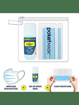 Poketmask Pack 3 - Máscara Descartável + Estojo + Álcool Gel
