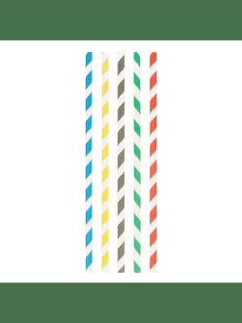 Palhinhas direitas riscas 0,8x23,5 cm sortido papel cx 100