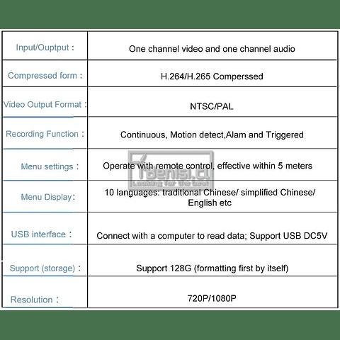 MINI DVR HD - 1 ENTRADA + MEMORIA 32GB