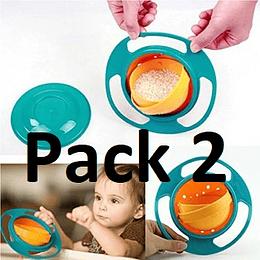 Pack 2 Plato Antiderrame Niño Bebé Gira en 360 °