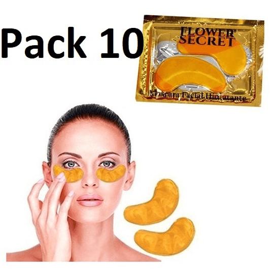 Pack 10 Pares Máscara Ojera Colágeno con Ácido Hialurónico Oro