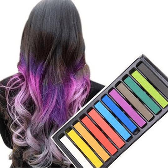 12 Tizas De Colores Para El Cabello. Tinte Temporal Pelo