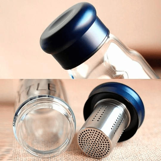 Botella Vidrio 420 Ml Infusiones Te Hierbas + Funda Aislante