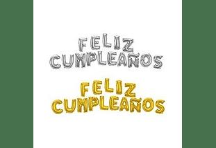Globo Feliz Cumpleaños Letra Dorado o Plateado