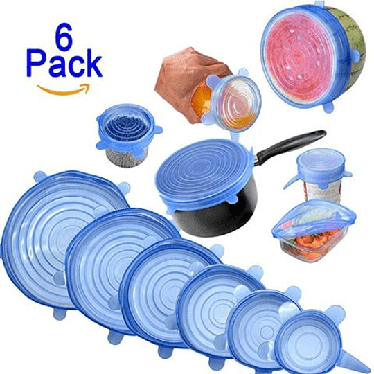 Pack 6 Tapas Silicona Varios Tamaños