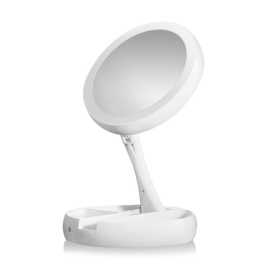Espejo Redondo de Maquillaje con Luz LED Plegable