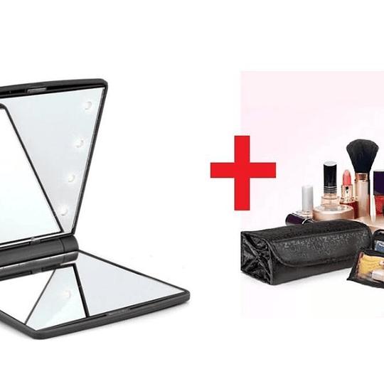 PACK Cosmetiquero Acordeon + Espejo con Luz Led para Cartera
