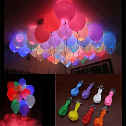 Pack 50 Globos con Luz Led Colores Surtidos, Helio O Aire Fluor
