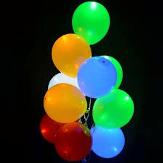 Pack 5 Globos con Luz Led Colores Surtidos, Helio O Aire Fluor