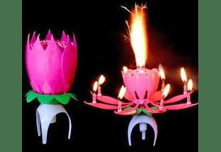 Vela Flor De Loto Musical Para Cumpleaños Tortas Celebración
