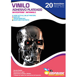 Vinilo Adhesivo Plateado Imprimible A4/20hojas