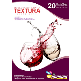Papel Adhesivo Matte TEXTURA : White Wave A4/100g/20 Hojas
