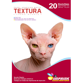 Papel Adhesivo Matte TEXTURA : Cuero Blanco A4/100g/20 Hojas