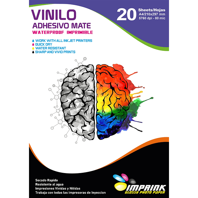 Vinilo Adhesivo Blanco Mate Imprimible A4/20 Hojas Imprink