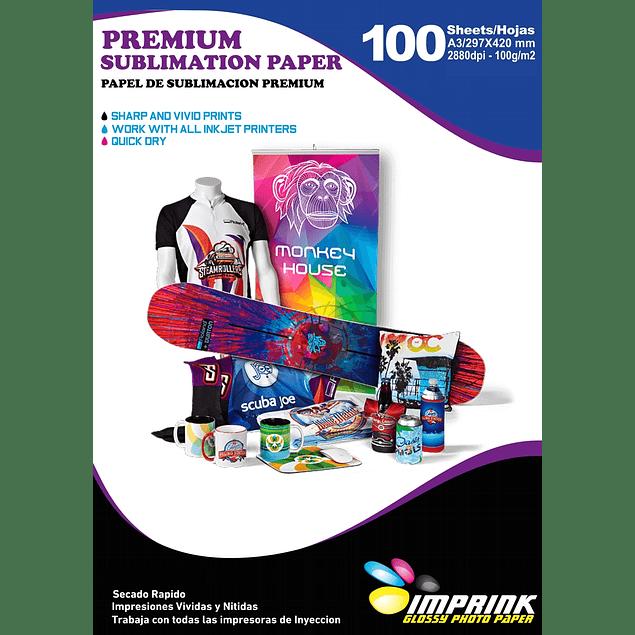 Papel Para Sublimacion Premium (reverso amarillo) A3 Resma De 100 Hojas   Secado Rapido