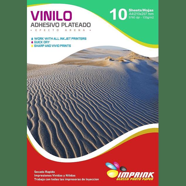 Vinilo Adhesivo Plateado  Efecto Arena Imprimible A4/10hojas
