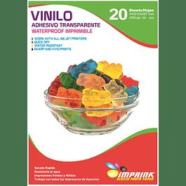 Vinilo Adhesivo Transparente (no cristalino)  Waterproof A4  / 20 hojas.