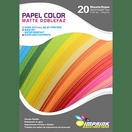Papel doblefaz matte COLORES amarillo/calipso/verde    A4/230G/20 HOJAS