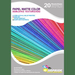 Papel doblefaz matte COLORES Texturizado   A4 / 230G / 20 HOJAS