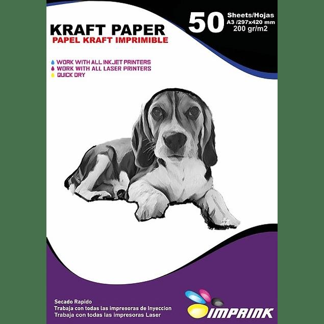 Papel Kraft 200grs Ecologico Imprimible Tamaño A3/50hojas
