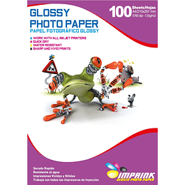 Papel Fotografico Glossy Brillante A4 De 135gr/100 Hojas