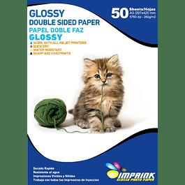 Papel Doble Faz Glossy Brillante A3 De 260gr/50 Hojas