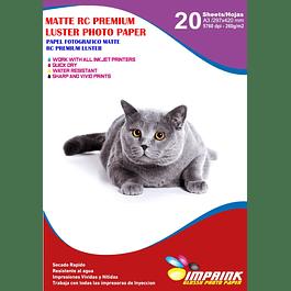 Papel Foto Premium Rc Luster A3 / 260 g / 20 Hojas