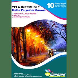 Tela Imprimible Matte Poliester Canvas A3 / 10 hojas
