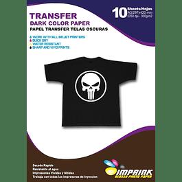 Papel Transfer Premium Telas O Poleras Osuras A3 / 10 Hojas