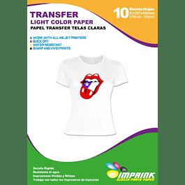 Papel Transfer Premium Poleras Blancas A3  / 10 Hojas telas Claras
