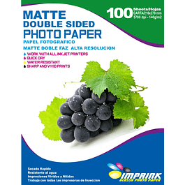 Papel Alta Resolucion Doble Faz Matte  Carta / 140g / 100 Hojas