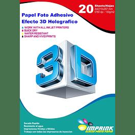 Papel Foto Adhesivo Efecto 3D Holografico A4 / 130g / 20 Hojas