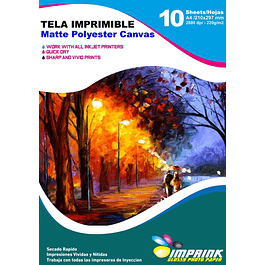 Tela Imprimible Matte Poliester Canvas A4 / 10 hojas