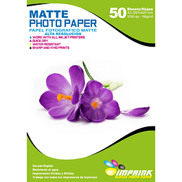 Papel Fotografico matte  A3 De 180gr/50 Hojas