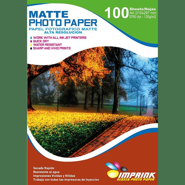 Papel Fotografico matte  alta resolucion A4 De 130gr/100 Hojas