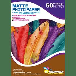 Papel matte alta resolución A3 / 140 gr  50 hojas