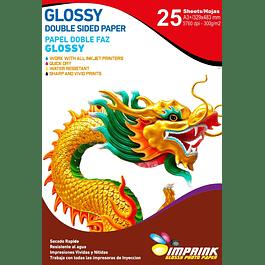 Papel Foto Glossy Doble Faz A3+(33x48) 300gr / 25 Hojas
