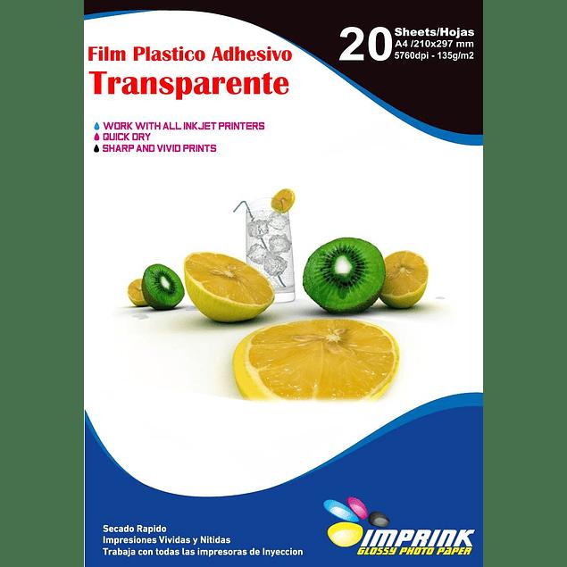 Film Plástico Adhesivo Transparente Cristalino A4 / 135g / 20 hojas