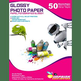 Papel fotográfico glossy Carta 180 gr / 50 hojas