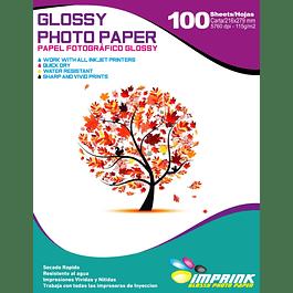 Papel fotográfico glossy carta 115 gr / 100 hojas