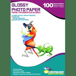 Papel Fotografico Glossy Brillante Carta De 160gr/100 Hojas