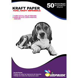 Papel Kraft 200grs Ecologico Imprimible Tamaño A4/50hojas