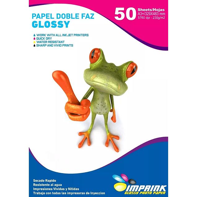 Papel Fotografico Glossy Doble Faz A3+(33x48) 230gr/50 Hojas